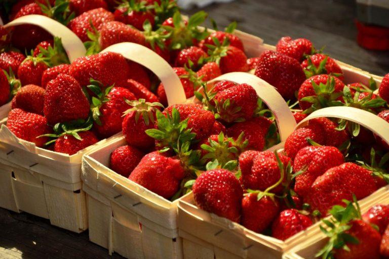 Mooie bakjes aardbeien